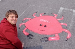 Joel Anderson popping up with his happy crab!