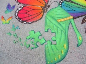 Chalk Girl Lysa Ashley helps AutismHWY explain our LOGO metamorphosis!