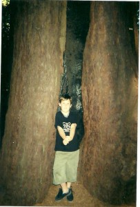 Tree hugging in a Santa Cruz redwood FOREST...7 yrs. ago.